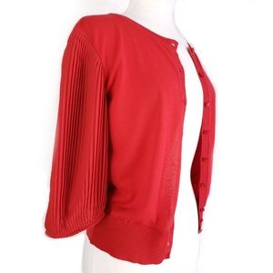 VALENTINO Red Pleated Sleeve Button Down Cardigan